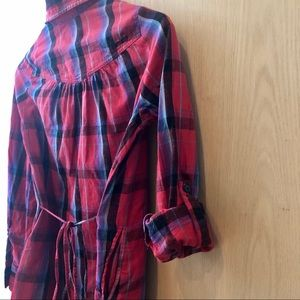 ELEMENT RED SELF-TIE PLAID SHIRT - S
